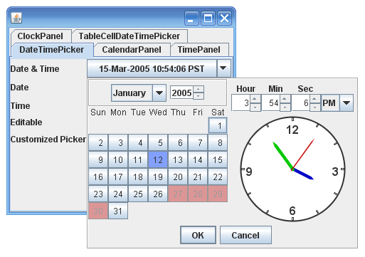 Java Swing Date Time Selector